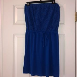 Strapless lace top dress blue!